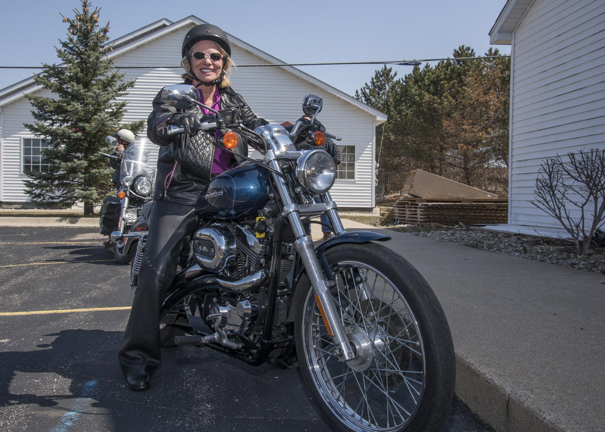 Ruth rides Harley Davidson. jpg